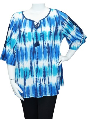 Crochet-detail flutter  sleeves printed Plus size top.286A-Blue Printed
