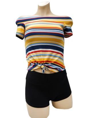 Short sleeves tie-front stripe off-shoulder top. 42270R21ST-MUSTARD
