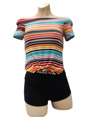 Short sleeves tie-front stripe off-shoulder top. 42270R21ST-TEAL
