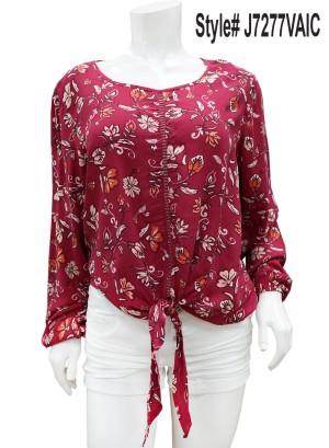 Long sleeves tie-front floral top.  J7277VAIC-WINE