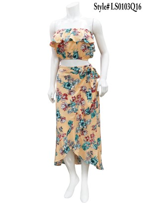 Ruffled wrap-around tie-waist, floral 2pc-hi-low skirt. LS0103Q16-PEAHC FLORAL