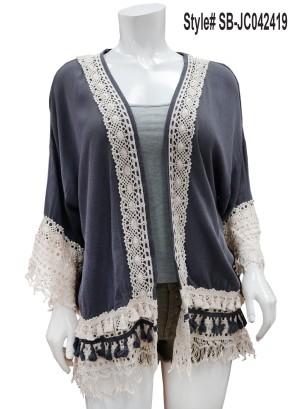 Crochet-trim open cardigan.SB-JC042419-Indigo