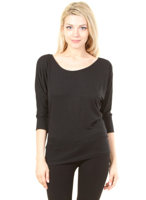 Scoop neck quarter dolman sleeve top with banded hem-WH-T1134-BLACK