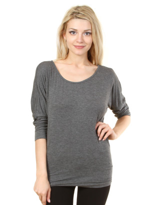 Scoop neck quarter dolman sleeve top with banded hem-WH-T1134-GREY