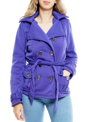 Double Breasted Front pockets Belted Jacket T3705530-Purple