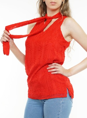 Lined scarf sleeveless cutout back top. T60273-01-SF-Red