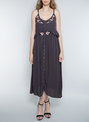 Spaghetti Straps Button-Down Embroidery Detail Mid-Dress. TD2295-W28-Grey