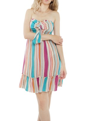 Bow-front striped ruffled- bottom stripe tube dress J12212VBSO-Teal multicolor