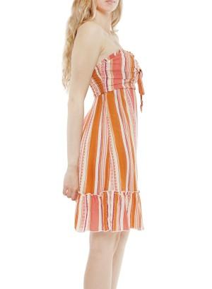 Bow-front striped ruffled- bottom stripe tube dress J12212VBSO-Orange multicolor
