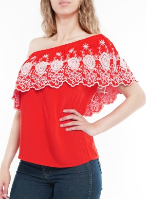 Asymmetrical off shoulder top with crochet detail. TY80614-01P- Red
