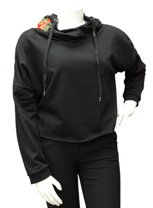 EMBROIDERED ROSE APPLIQUE HOODIE DRAWSTRING,FRENCH TERRY LINING PLUS SIZE SWEATSHIRT. W07R002A-BLACK
