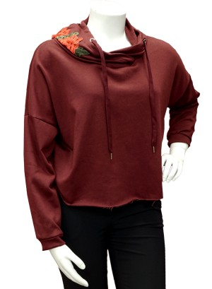EMBROIDERED ROSE APPLIQUE HOODIE DRAWSTRING,FRENCH TERRY LINING PLUS SIZE SWEATSHIRT. W07R002A-WINE