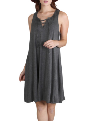 Sleeveless, tie-front shift dress-WH-131335-CHARCOAL