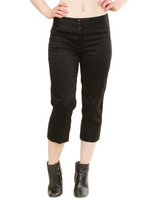 Capri pants with Zip-front/Button Closure WH-19UK899M - BLACK
