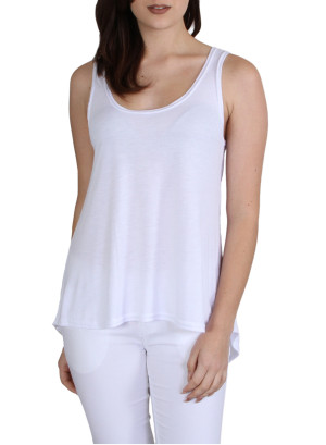 Scoop neck hi-low hem tank top-WH-99658-WHITE