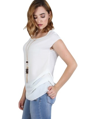 Cap sleeve, round neck, key hole back top with layered side pleats and detachable fashion necklace. WH-BT1679N-IVORY