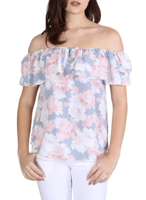 Garterized ruffle off shoulder floral top-WH-BT2004P-GREY/CORAL