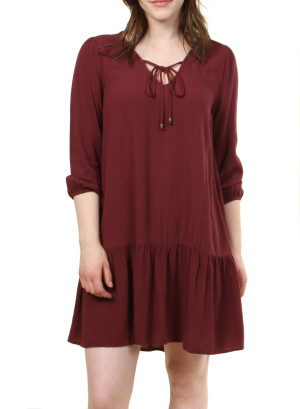 V- neck garter sleeve mini dress.WH-ID1583FT-WINE