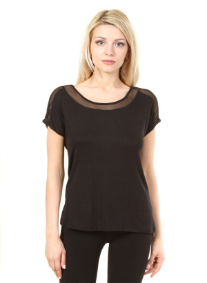 Round neck, cap sleeve, tie back mesh contrast yoke-WH-JNS1340- BLACK