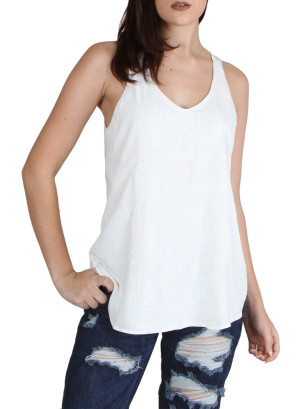 V neck beaded front sleeveless top with inner front lining, round hem-WH-MBT011929B-IVORY