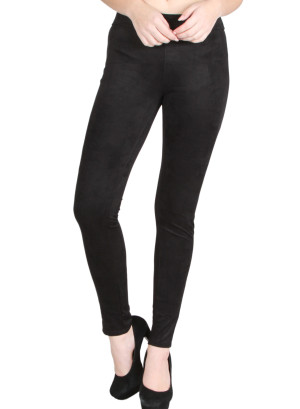 Banded waist, stretch skinny suede pants-WH-P1024-BLACK