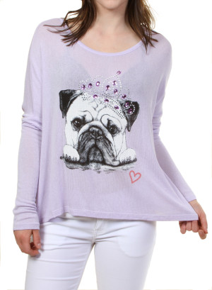 Scoop neck ribbed top long sleeves with a pug print design with sequins. WH-T3376B133-LAVENDER