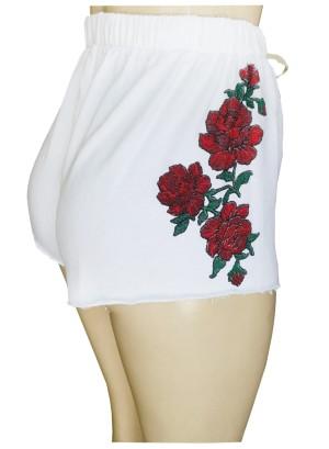 Drawstring floral printed seamless shorts.P1628-White
