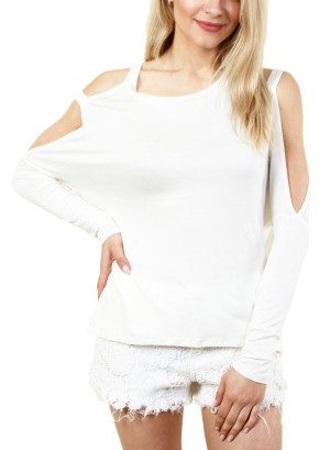 COLD-SHOULDER LONG SLEEVE TOP . FH-MBT2106-WHITE
