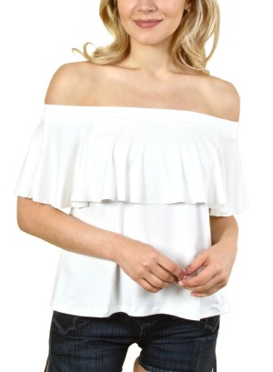 WOMEN'S OFF SHOULDER TOP. FH-T445103-WHITE