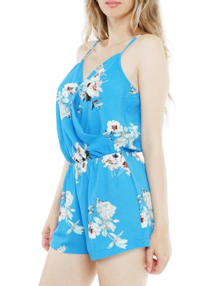 Spaghetti straps over-lapping front Floral printed Short Romper. WP607UBA-Blue Floral