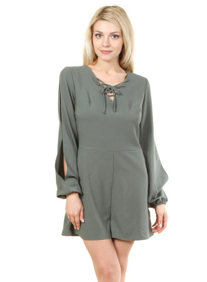 V-neck garter sleeve romper with zip back closure. WH-XHFRW0623-SEAWEED