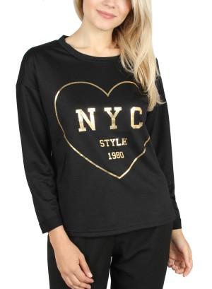 NYC STYLE 1980' HEART PULLOVER. Y62Y001-BLACK