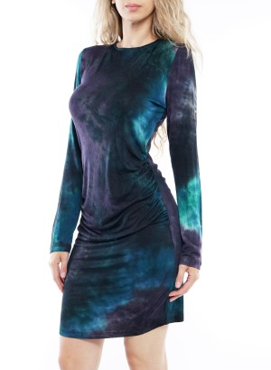 Long sleeves crisscross back tie- dye shirred-waistline bodycon dress Y98519-Teal/Plum