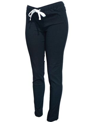 Drawstring banded waistline 2-pocket stripe pants. YH6321-BLACK