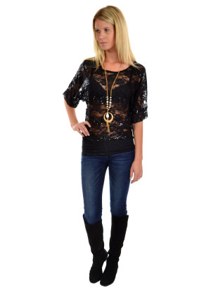 Round neck half sleeve floral lace top with sequin stripe paneling and lace banded hem-ZG6673-6136-6261-BLACK (necklace not included)