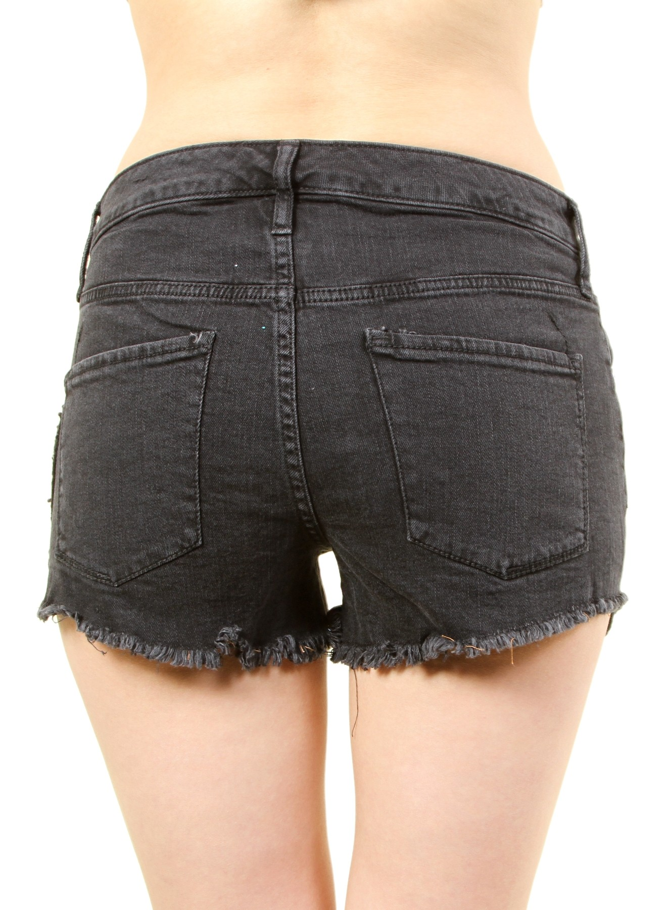 a93bfbb758b7 WOMEN'S HIGH RISE SHORTS WITH PATCHES. FH-MBB019864-BLACK