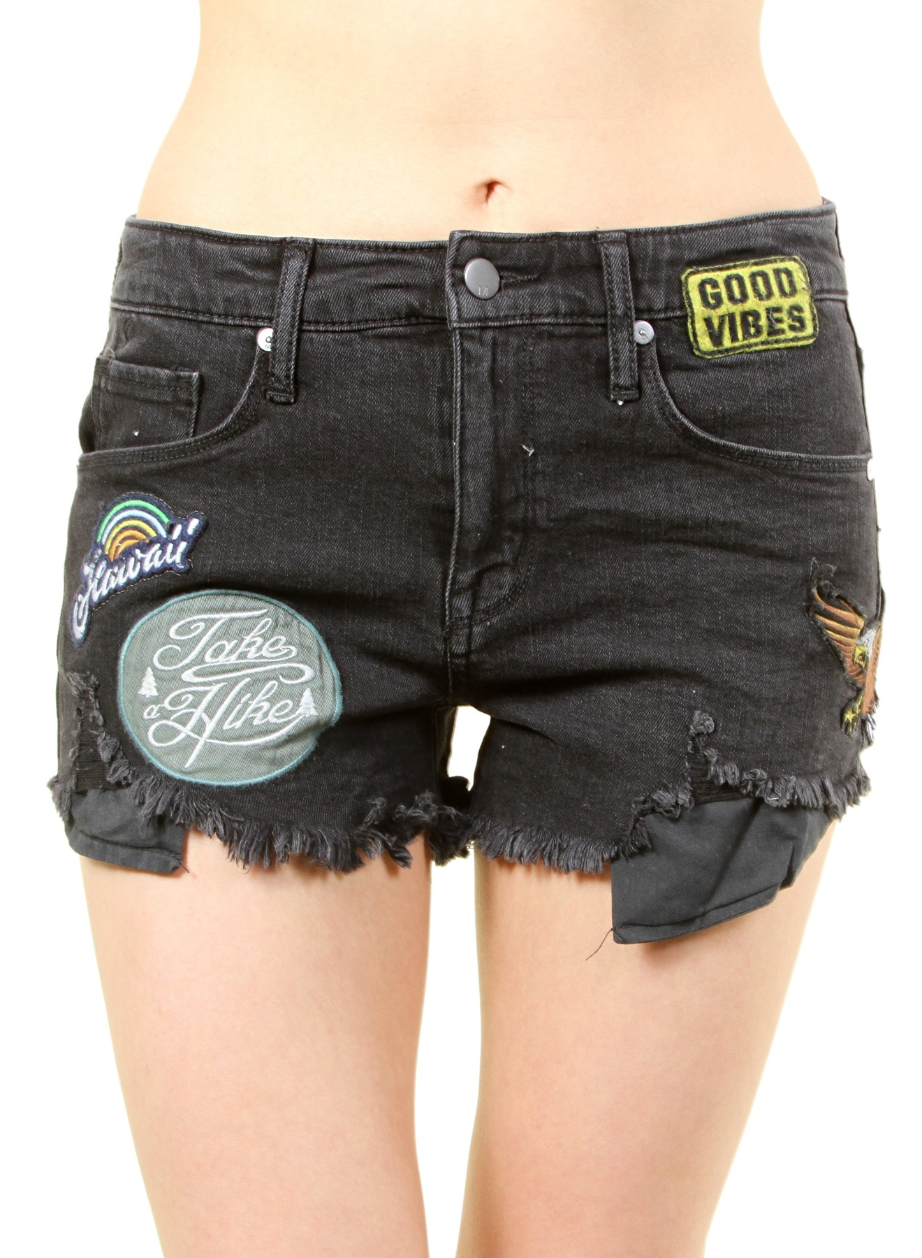 0c4ce7136280 women's high rise shorts with patches. fh-mbb019864-black