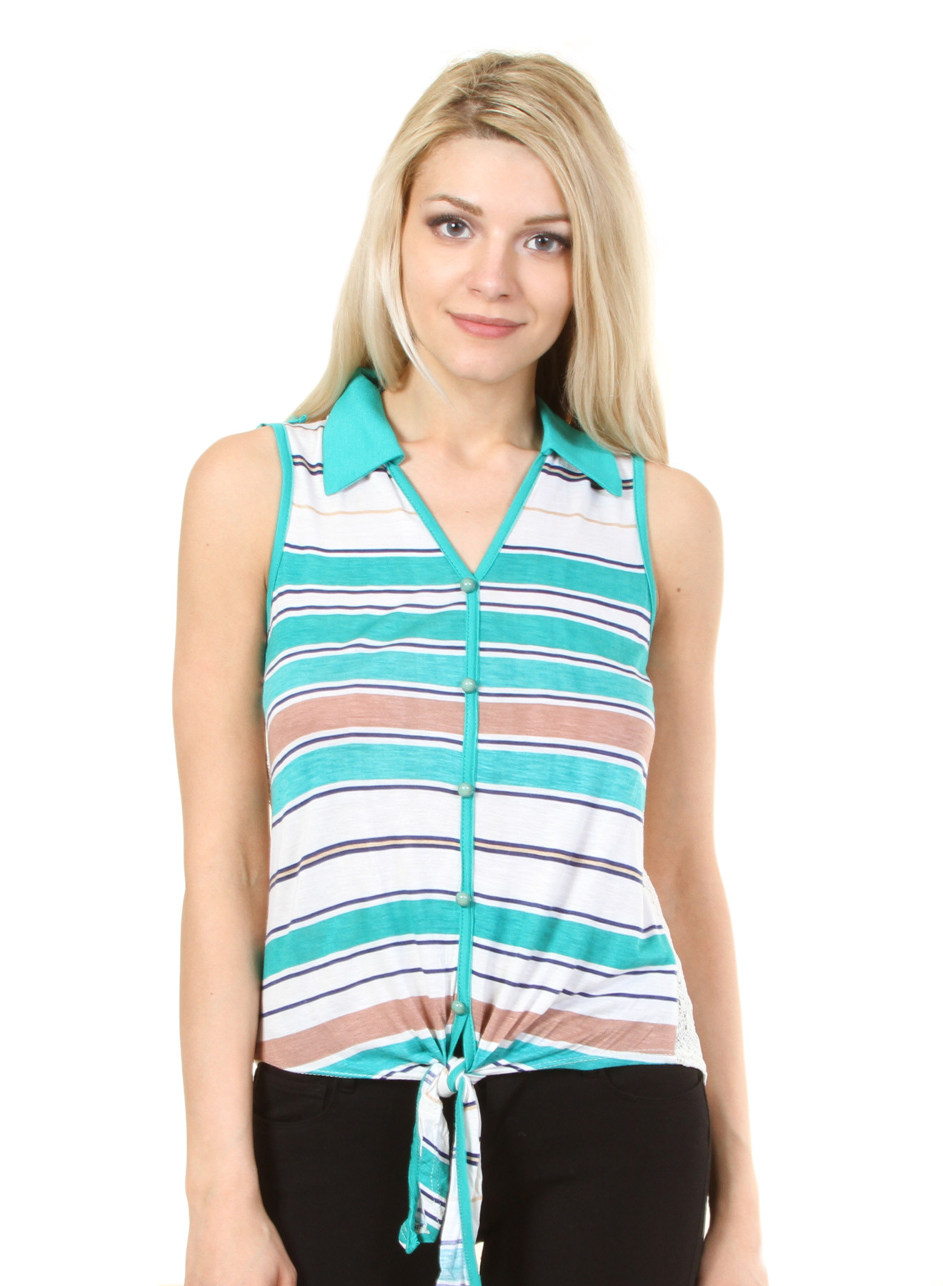 8c5f906b91df91 Sleeveless Point Collar Tie-Front Stripe Top with Tab Shoulders ...