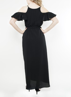 Cold shoulder tie-waist maxi dress. 12086WB3-Black