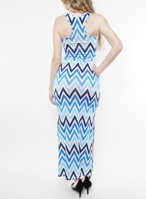 Women's sleeveless round neck maxi dress with leg slits. FH-MD75341-BLUE/WHITE