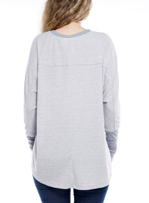 Long Sleeve round-neck front shot back long Top.  0101070-Grey