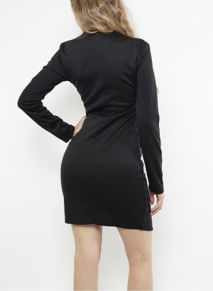 Long sleeve Asymmetric Bodycon Dress. U203D-Black