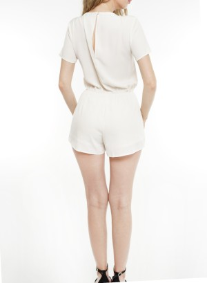 Short sleeves  tie-front open-back lined shorts romper. 101657-Ivory
