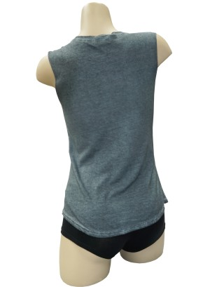 Sleeveless top with Jewel detail front.1120-JEWEL-CHARCOAL