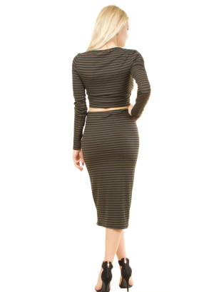 Full sleeve v-neck crop top and bandage skirt. WH-3417INRIJU-SEAWEED