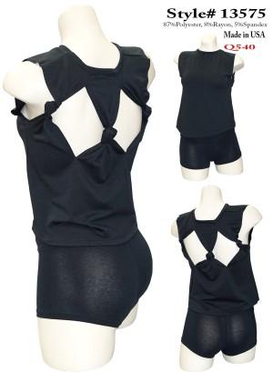 Braided-back sleeveless top. 13575-BLACK