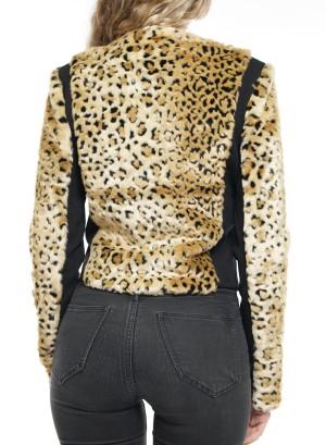 Animal Print zipper front jacket. TJ001858-Gold