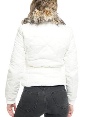 Zipper Front Side Pockets Bomber Jacket 36630003-Ivory