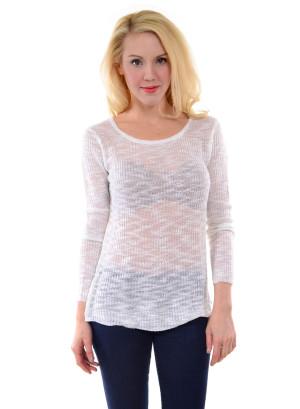 Round neck, long sleeve pullover with open knit, crisscross pattern and hi-low hem-19129-WHITE