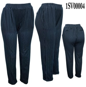 Banded two side-pockets striped pants. 01SV00004-Black-White